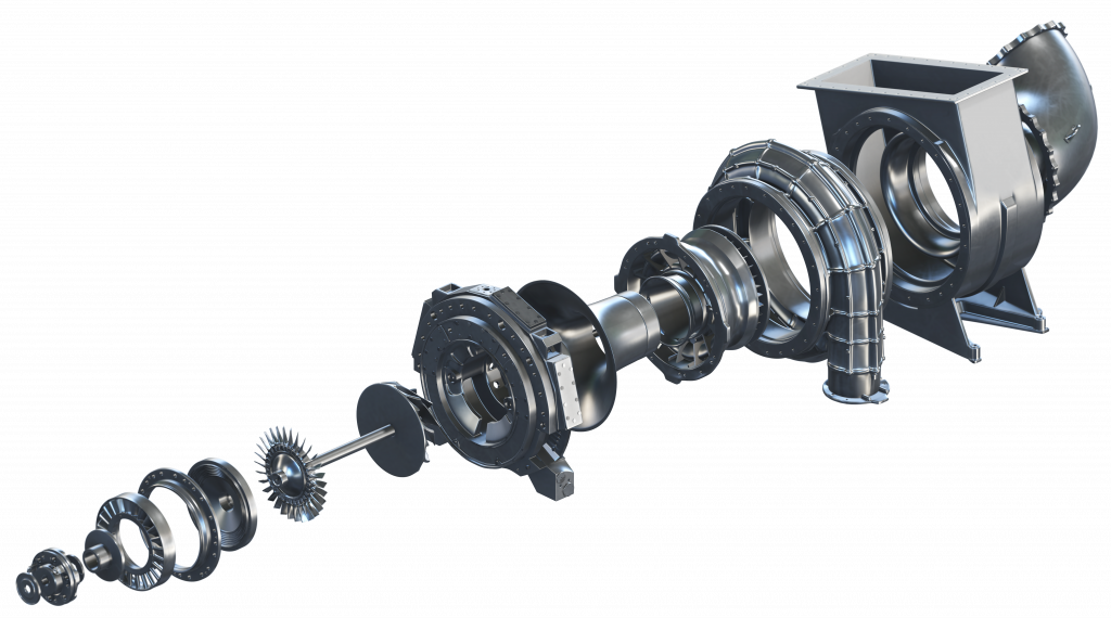 exploded view of turbocharger